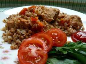 Healthy Russian food buckwheat with turkey recipe