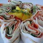 Lavash salmon roll Russian finger food